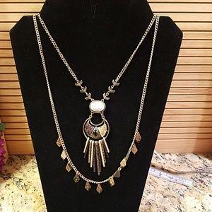 3 tone dual chain stone & rhinestone necklace GUC